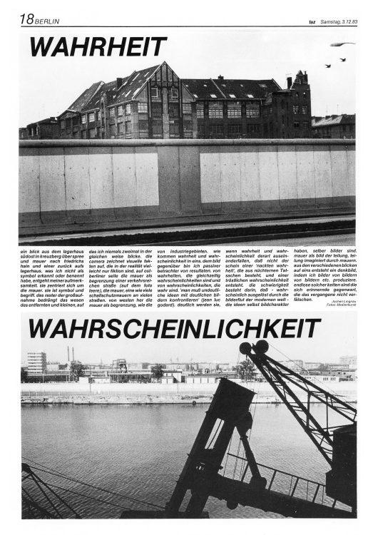 TAZ- Die Tageszeitung: ganzseitige, künstlerische Bild-Text-Projekte im Zeitungsformat, die das Medium und die Zeit reflektierten.
