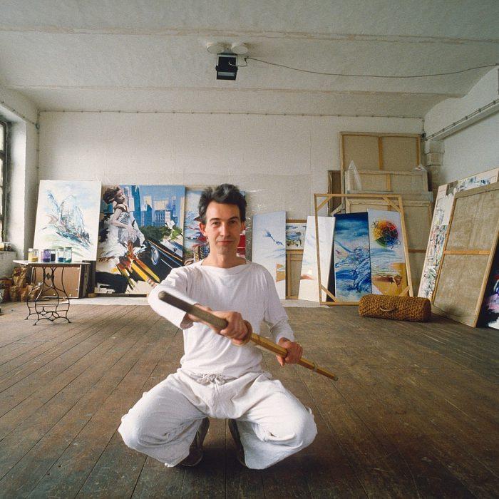 Lagerhaus Süd-Ost, der Künstler Harald Hoffman in seinem Atelier, Berlin 1982 - 1986